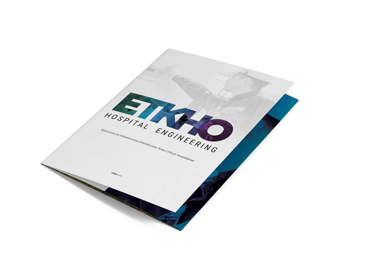 nuevo tríptico ETKHO de ingeniería hospitalariacon información sobre nuestros equipos de seguridad eléctrica y servicios para áreas críticas